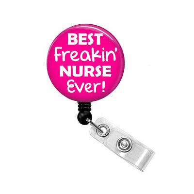 Nurse Badge Reel Retractable Name ID Holder Pull Clip Lanyard Best Freakin'