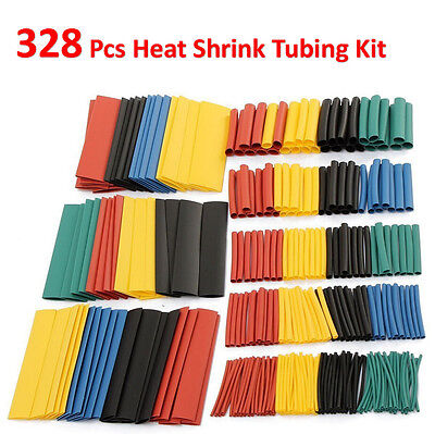 328 Pcs 5 Colors 8 Sizes Assorted 21 Heat Shrink Tubing Wrap Sleeve Kit Top