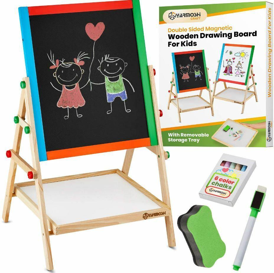 Easel For Kids Art Board Drawing Double Sided Chalk Blackboa