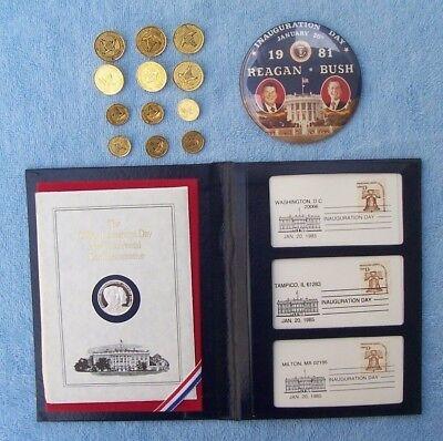1981 Reagan Bush Inaugural Coat Buttons / Rally Button / '85 Commemorative Medal