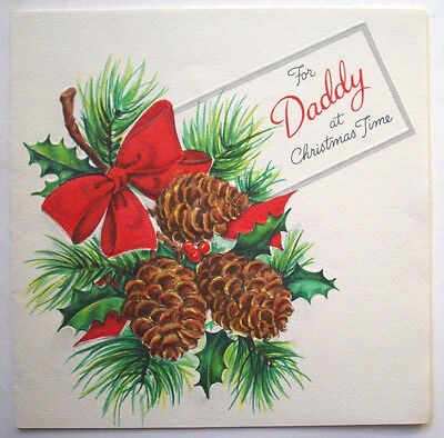 Hallmark to Daddy pinecones Christmas vintage greeting card *K ()