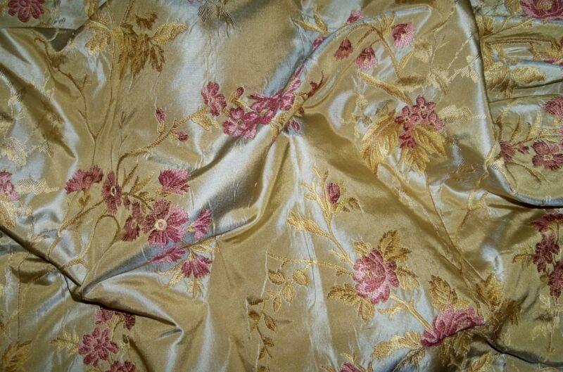SILK LOOM FRENCH ROMANTIQUE SILK DAMASK BROCADE FABRIC 15 YARDS GOLD ROSE PINK