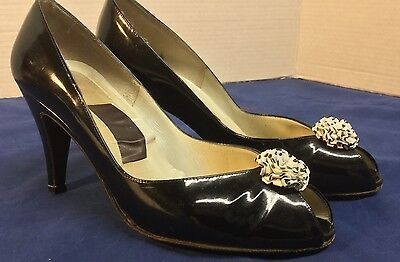 Amalfi Black Patent Leather 3 inch Pumps Size 7 1/2 B Pointed Toe Shoes