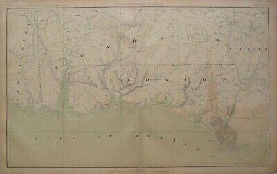 Original Civil War Topo Map FLORIDA PANHANDLE Pensacola Mobile Biloxi Marianna