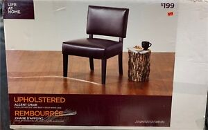 Life at Home Upholstered Accent Chair, Dark Brown Leather