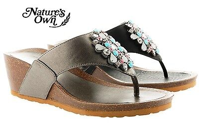LADIES Natures own CUSHIONED INSOCK WEDGE FLEXIBLE COMFORT SANDALS MULES SHOES