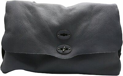 Zanellato Women's Postina Leather Patent Shoulder Bag Baguette - Blue