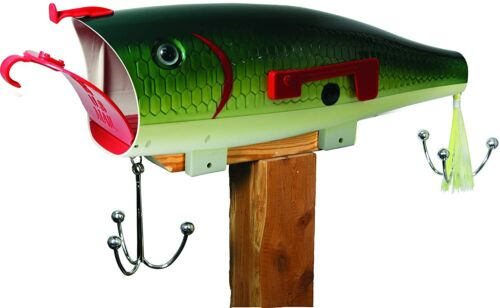 Outdoor Fish Mail Box Tamper Proof Mounting Hardware Men Bass Fisher Man Gift