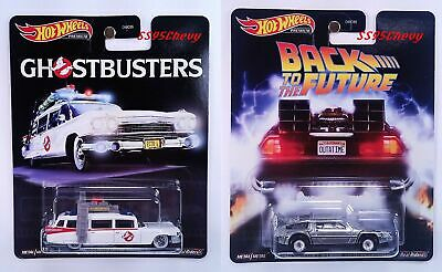 2020 Hot Wheels Premium Retro Back To The Future Time & Ghostbusters ECTO-1