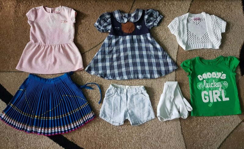Lot Of 6 Baby Girl Dress T-shirt Cardigan Babe & Tess,red Tag Size 12-24 Month