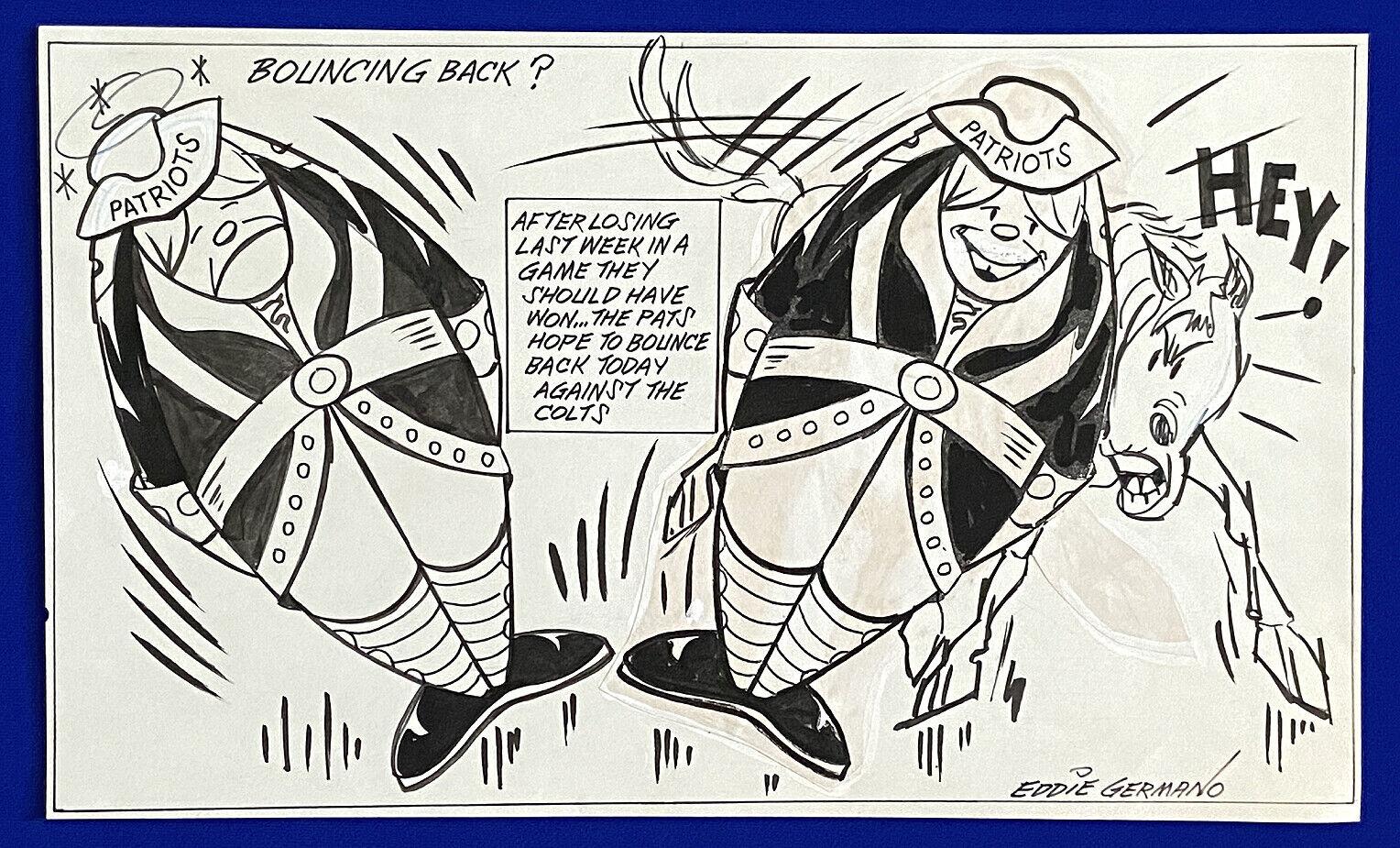 "1970's patriots vs. colts ""bouncing back?"" 11x18 original cartoon art by germano"