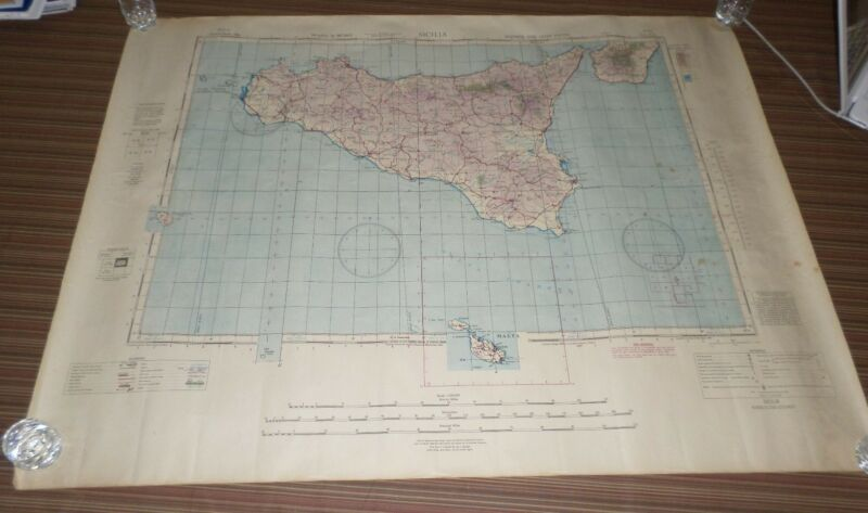 Fantastic, very large colored map of Siciliana (1956) Scarce!
