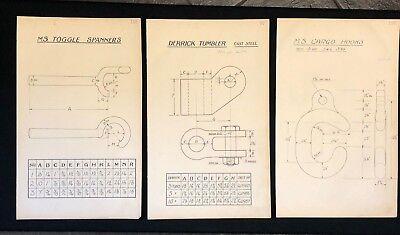 3 X Harland & Wolff Belfast 1930's Drawings SPANNER DERRICK TUMBLER HOOK - RF04