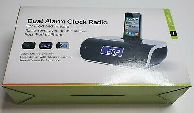 iEssentials Dual Alarm Clock Radio For iPod and iPhone IPL-DCR