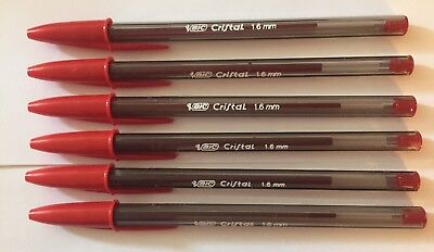 Lot Of 6 Red Bic Cristal Ballpoint Pens 1.6mm Xtra-bold