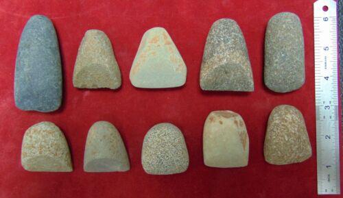 C2) 10 pcs Neolithic Celts North Africa Sahara Artifacts old lot scraper celt