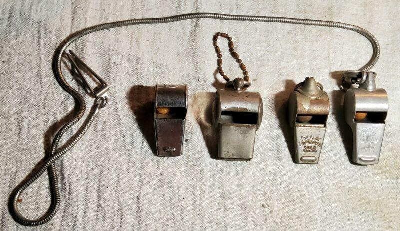 4 VINTAGE WHISTLES- ECHO 620 TORRINGTON, CT, ACME THUNDERER RAWLINGS,NOBLE JAPAN