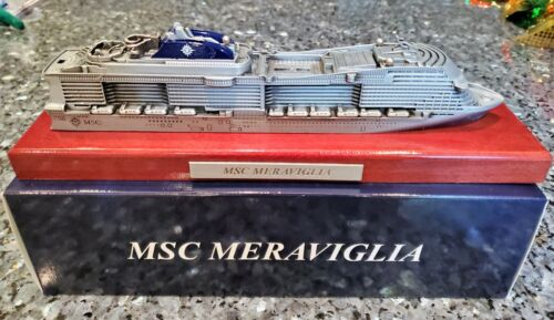 MSC Cruise Line MERAVIGLIA Cruise Ship Metal on wood Model