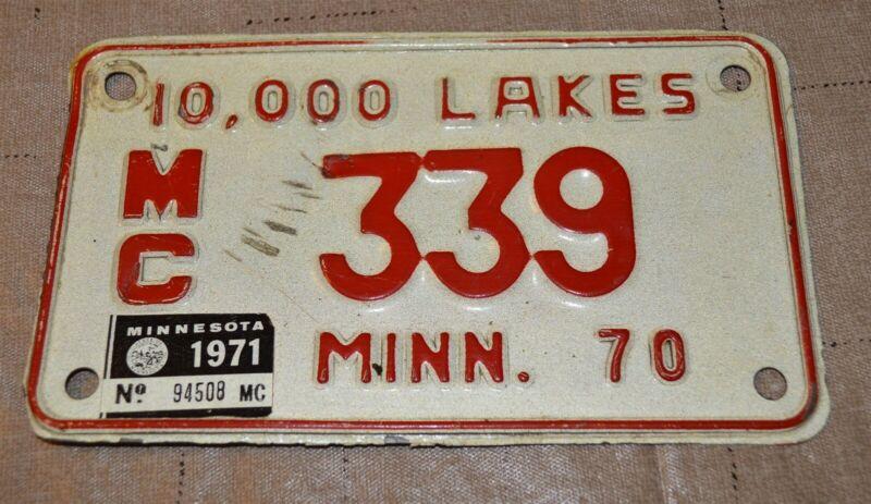 1970-71 tab Minnesota Motorcycle License plate Number 339 Low Number