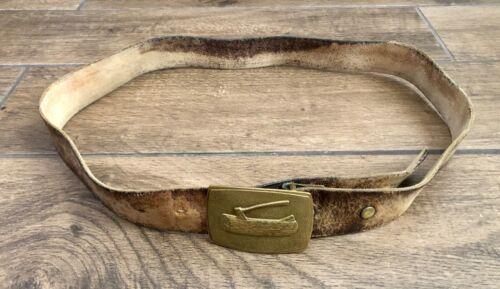 Wood Log & Axe Boy Scout Brass Buckle w/ Leather Belt BSA Vintage