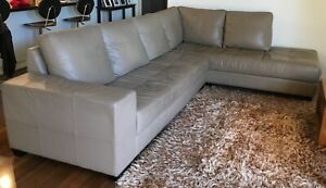 Leather lounge with chaise