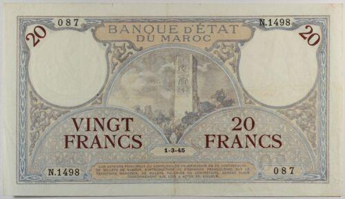 Morocco ... P-18b ... 20 Francs ... 1-3-45 ......VF