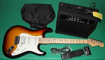 Set De Luxe Guitarra Eléctrica HSS Deluxe Capa 15 Watt - Sunburst