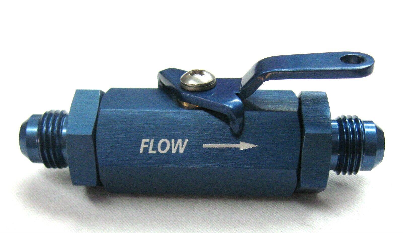 06 AN in-line Fuel Shut off Valve.Blue, Aluminum, Race car,Street car Street Rod