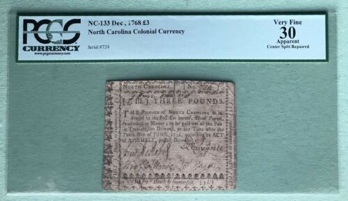 1768 North Carolina Colonial Currency PCGS 30 Very Fine RARE Amazing Signatures!