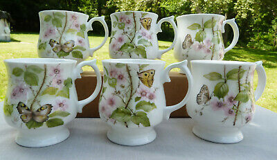 Elizabethan Staffordshire Mug Bone China England Flower Roses Butterfly Set of 6