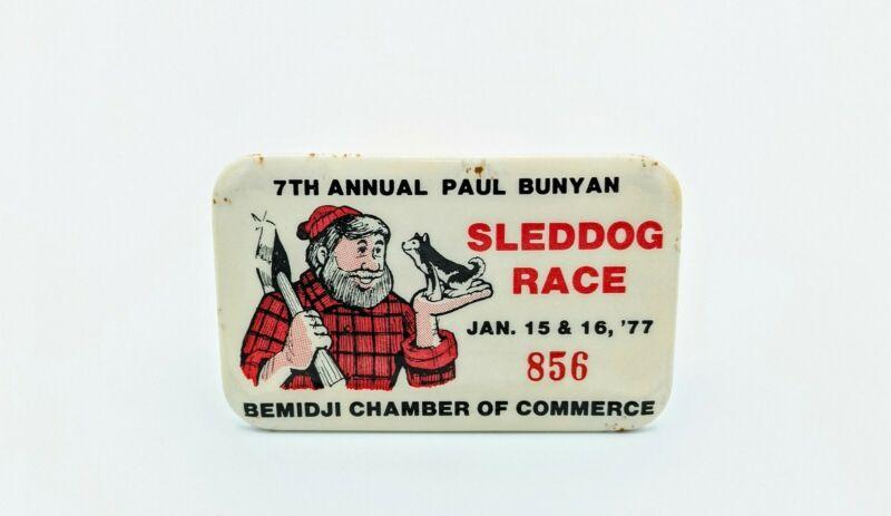 Vintage Paul Bunyan 7th Sled Dog Races 1977 Bemidji Minnesota Pinback Button