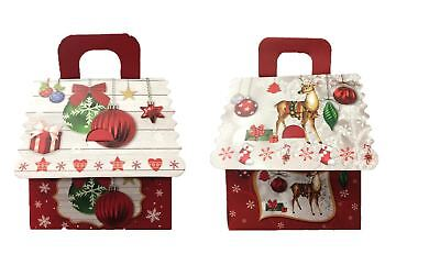 Luxury 12pk Paper Gift Bag Boxes, Christmas Reindeer & Bauble Style Gift Bag