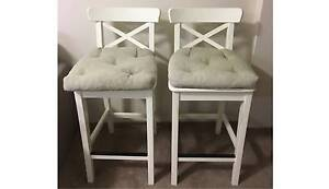 2 x White WOODEN Stools with cushions Centennial Park Eastern Suburbs Preview