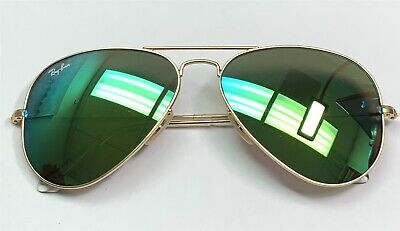 Ray-Ban RB 3025 112/19 Aviator Sunglasses Matte Gold / Green 58mm Display w/case