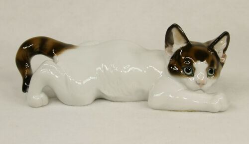 Rosenthal Germany Hand Painted Porcelain Crouching Cat Figurine by T Karner
