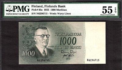Finland 1000 Markkaa 1955 Pick-93a About UNC PMG 55 EPQ