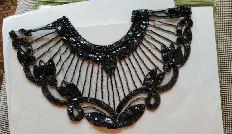 Vintage Egyptian Revival Cleopatra Collar Cape Glass Beaded Sequins Black Lace