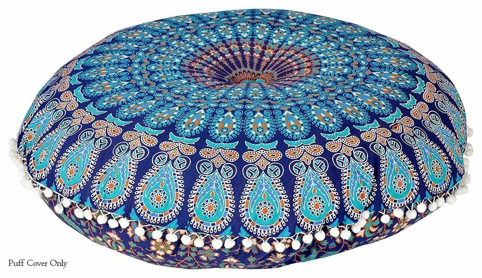 Mandala Decorative Meditation Floor Cushion Cover Throw pom