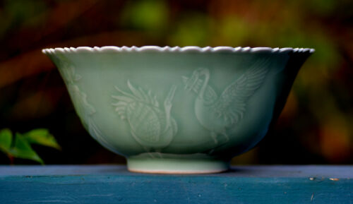 Unique Chinese Celadon Porcelain Bowl - Qing Yongzheng 雍正 Mark