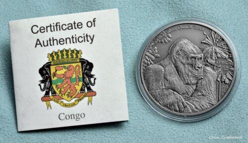 2014 Congo 1000 francs - AFRICA - Gorilla, 1oz .9999 silver coin, capsule & COA