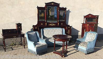 sehr schönes Empire Zimmer Salon Vertiko Schreibtisch Sofa mit Überbau