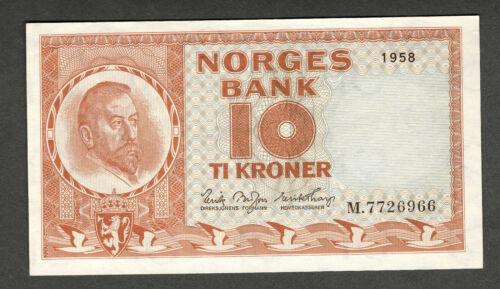 NORWAY 1958 10 KRONER NOTE, P31b5