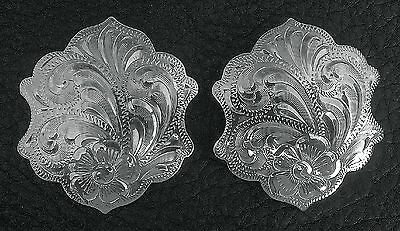 "2 - 1 3/4"" Fancy Silver Hand Engraved Western Conchos                        #14"