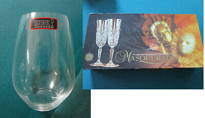 CRYSTAL D'ARQUES 6 CHAMPAGNE FLUTE MASQUERADE- RIEDEL MERLOT WINE GLASSES PICK1 -