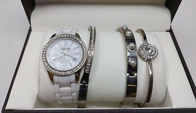 Anne Klein 12/2257SVST Ceramic Stainless Steel Women's Watch Bracelet Set
