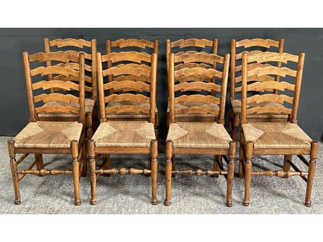 Set Eight 8 Antique Style Oak / Ash Rush Seat Clissett Ladder Back Dining Chairs
