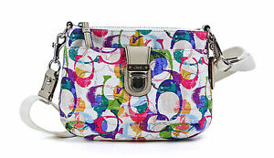 Coach Multicolor Poppy Stamped C Swing pack Cross body Shoulder Bag Purse New