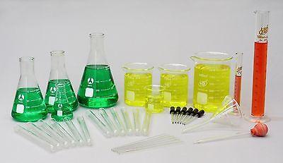 36 Piece Laboratory Glassware Set Science Lab Kit - Beakers Cylinders Flasks