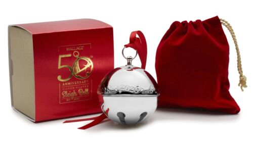 2020 Wallace 50th Anniversary Silver Plate Sleigh Bell Xmas Ornament Decoration
