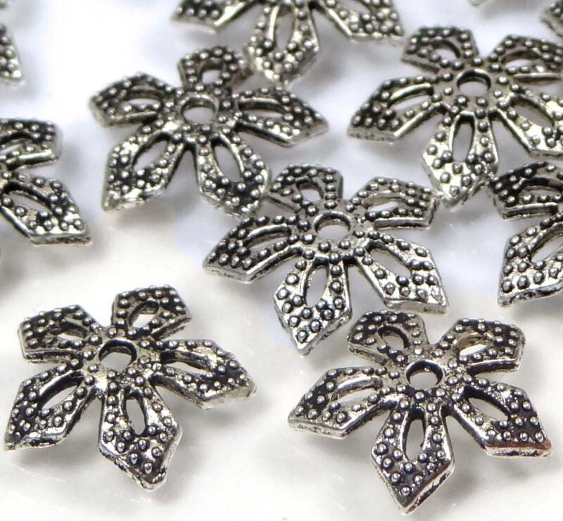 25 Antique Silver Pewter Filigree Bead Caps 11mm